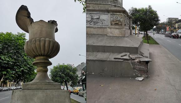 Monumentos se encuentran deteriorados. Ministerio Público pidió información a la Municipalidad de Lima y al Ministerio de Cultura. (Foto: Difusión)