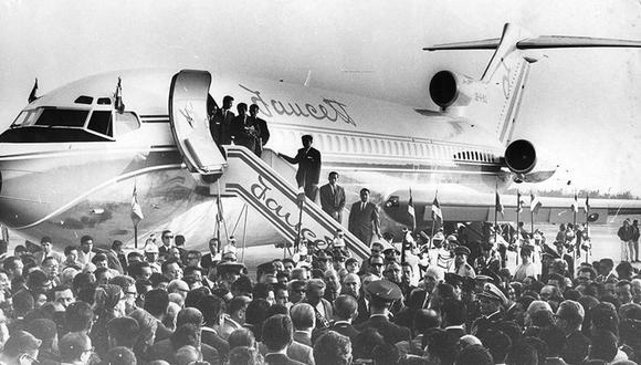Imagen del 30 de abril de 1968: bendición del jet de la aerolínea Faceutt. (Foto: Archivo histórico de El Comercio)