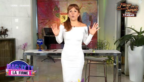 Magaly Medina reapareció en la conducción de su programa, pero sin gente en su casa. (Foto: Captura de video)