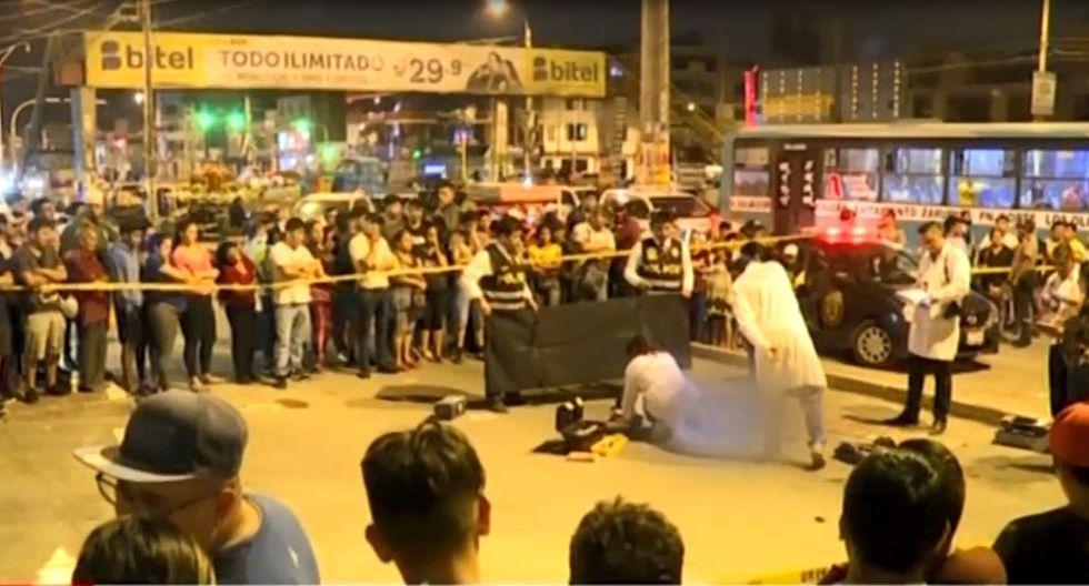 El crimen ocurrió en la cuadra 16 del óvalo Naranjal, en Los Olivos. (Captura: América Noticias)