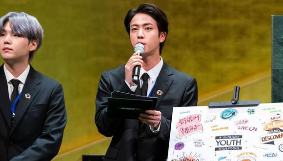Como parte del 76 período de sesiones de la Asamblea General de la ONU, el grupo surcoreano de k-pop BTS se presentó en la sede de Nueva York (Foto: AFP)