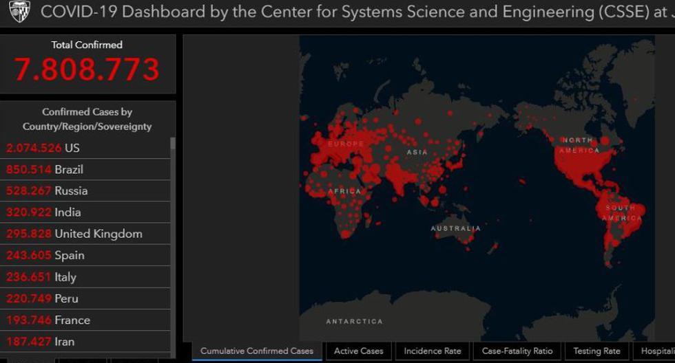 Mapa del coronavirus Covid-19 en el mundo en tiempo real hoy domingo 14 de junio: contagiados y muertos. (Johns Hopkins University).