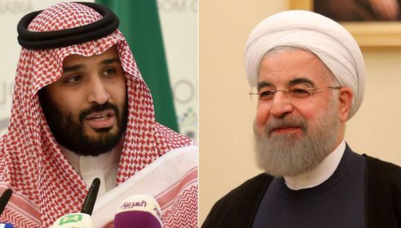 El príncipe heredero Mohamed bin Salman y el presidente de Irán, Hassan Rouhani. (Foto: Getty Images)