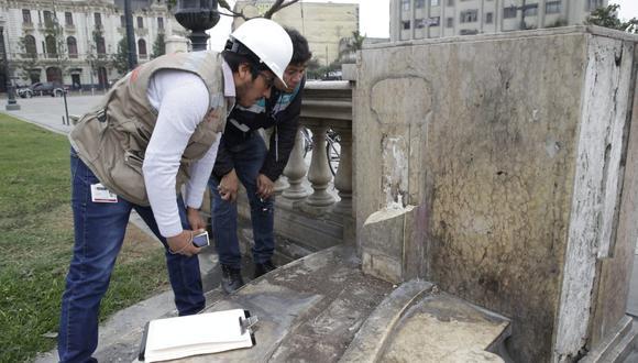 Piezas de mármol del Paseo de los Héroes fueron robadas y destruidas (Foto: Difusión).