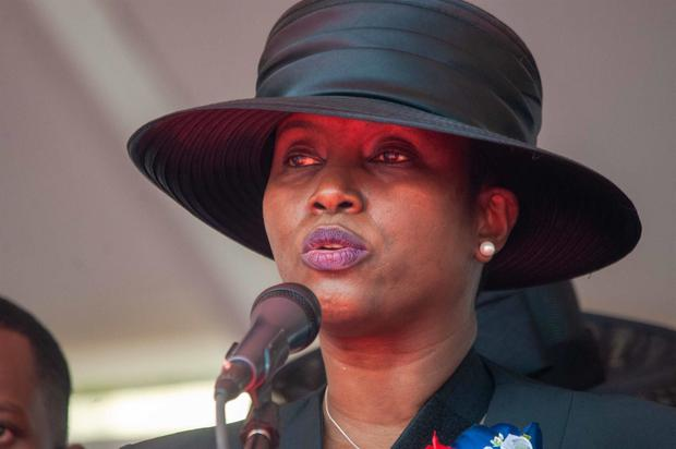 The first lady of Haiti, Martine Moise, speaks at the funeral of her husband, President Jovenel Moise, who was assassinated at his residence in the early morning of July 7.