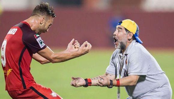 Diego Maradona y Danilo Carando coincidieron en el Al Fujairah del ascenso de la Liga Árabe del Golfo. (Foto: Agencias)