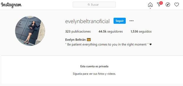 La cuenta de Instagram de Evelyn Beltrán ha sido puesta en modo privado (Foto: Evelyn Beltrán / Instagram)