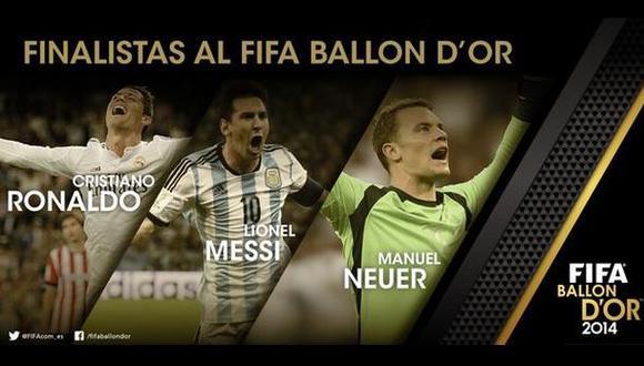 Cristiano Ronaldo, Messi y Neuer, finalistas al Balón de Oro