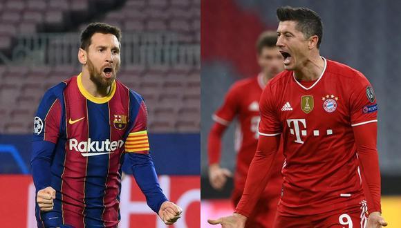 Lionel Messi y Robert Lewandowski son los mejores jugadores del ranking trimestral 2021, según del Observatorio de Fútbol CIES. (Foto: AFP)