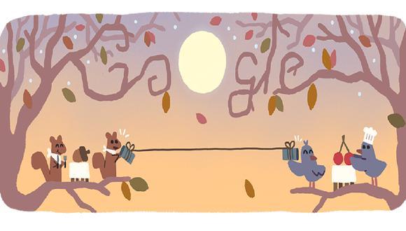 Google publicó un doodle alusivo al Día de Acción de Gracias. (Foto: Google)