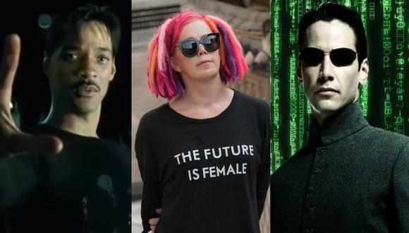 """A la izquierda, Will Smith en un 'deepfake' que lo convierte en Neo de """"Matrix""""; personaje que le ofrecieron interpretar. Al centro, Lana Wachowski, una de las creadoras de la saga. A la derecha, Keanu Reeves como el siempre a la moda Neo. Fotos: Shamook en YouTube/ Netflix/ Warner Bros."""