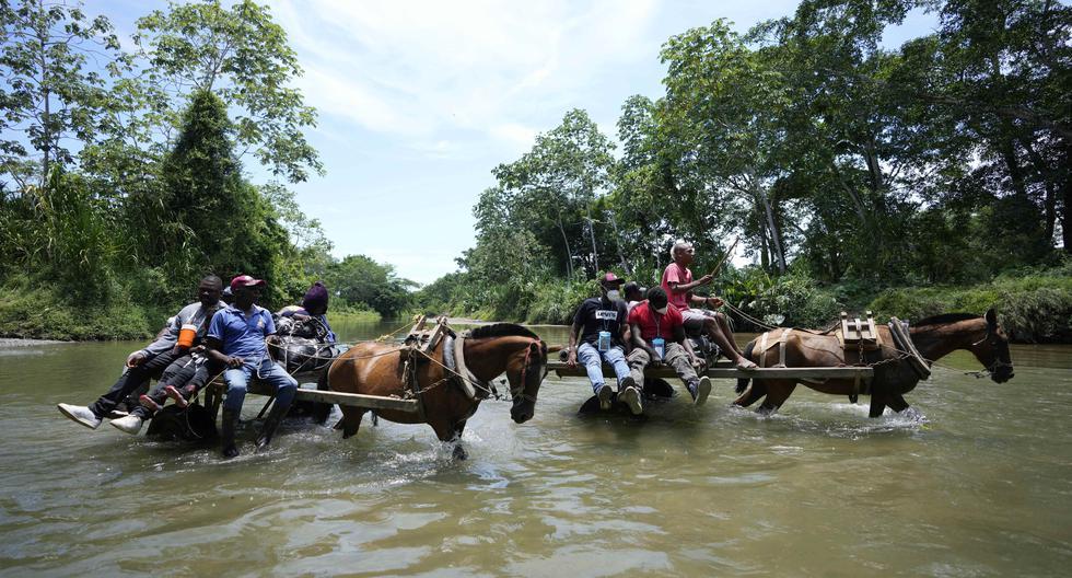 Migrantes se valen de todos los recursos para cruzar el Darién. AP