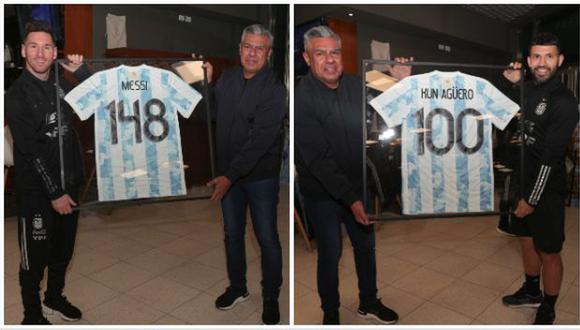 Lionel Messi y Sergio Agüero fueron homenajeados por la AFA. (Foto: Selección de Argentina)