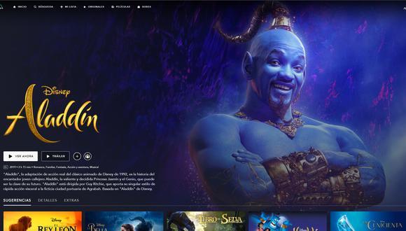 """Interfaz visual de Disney+ con """"Aladdin"""", uno de los contenidos exclusivos del servicio. Foto: Disney+."""