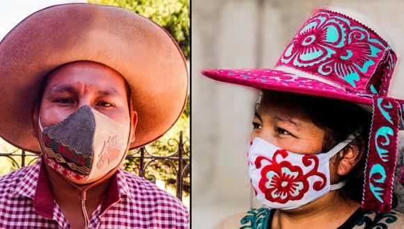 Los esposos artesanos Kati Samata y Rodolfo Huachaca desde hace nueve años se dedican a la elaboración de sombreros chumbivilcanos, por la pandemia decidieron reinventarse y confeccionar mascarillas con motivos típicos de su tierra natal. (Foto: Artesanía Chumbivilcana)
