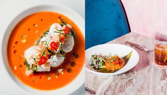 El restaurante Bandra, ubicado en una casona en Barranco, abrió sus puertas al público en febrero de este año. Al mes tuvieron que volver a cerrar debido a la pandemia. En la foto, izquierda: conchas frescas, puré de pallar verde y leche de tigre al curry rojo.