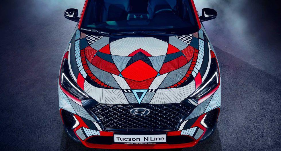 El artista alemán Andreas Preis plasmó su obra de arte sobre la carrocería de un Hyundai Tucson N-Line. (Fotos: Hyundai).