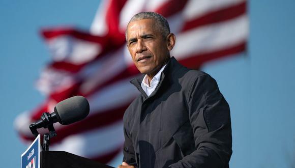 En esta foto de archivo, el expresidente estadounidense Barack Obama habla en un mitin en Atlanta, Georgia, el 2 de noviembre de 2020. (Elijah Nouvelage / AFP).
