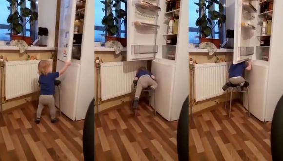 Un video viral muestra cómo un bebé vio su plan de darse un festín con lo que había dentro del refrigerador se vio arruinado por un detalle que no tomó en consideración.   Crédito: u/nidje_veze_ / Reddit