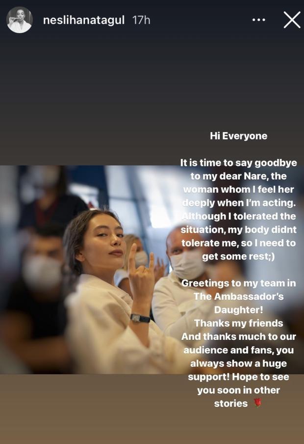 """Il messaggio di addio del protagonista """"La figlia dell'ambasciatore"""" (Foto: Neslihan Atagül/Instagram)"""