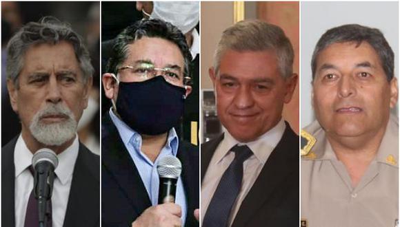 De la discusión política al fuero judicial. Los oficiales generales demandaron a Sagasti, Vargas, Elice y Cervantes para exigir su reposición. (Fotos: GEC / Mininter)
