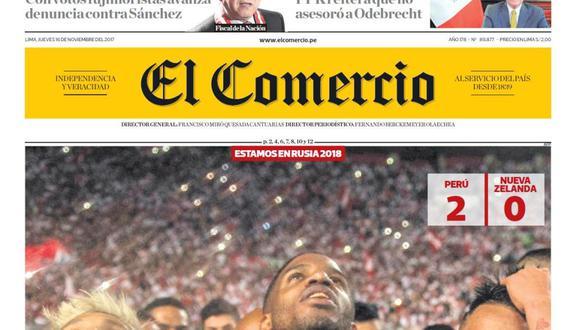 Portada de El Comercio publicada el 16-11-2017
