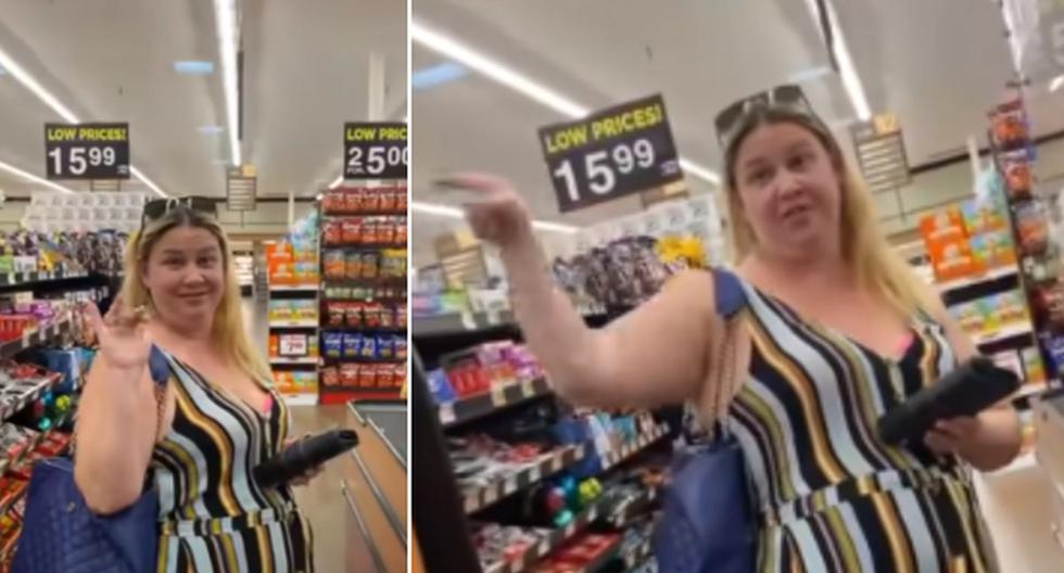 Foto 1 de 3 | La mujer no quiso hacer caso a las indicaciones que le daba un trabajador de supermercado. | Foto: Perez Hilton en YouTube.  (Desliza hacia la izquierda para ver más fotos)
