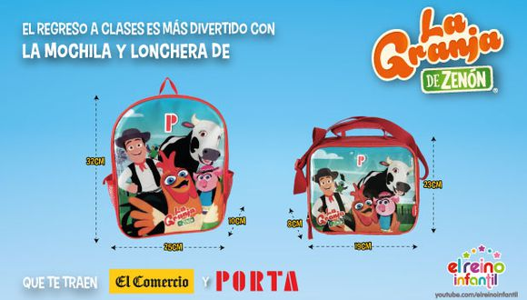 El Comercio y Porta te traen la mochila y lonchera de la granja de Zenón para empezar esta etapa escolar con mucha diversión.