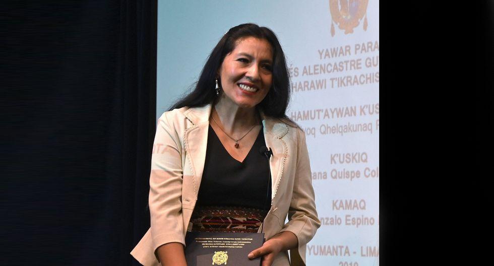 ROXANA QUISPE COLLANTES. Doctora cusqueña en Literatura y la primera peruana que sustentó una tesis escrita en idioma quechua. Fue en la Universidad Nacional Mayor de San Marcos. (Foto: AFP)