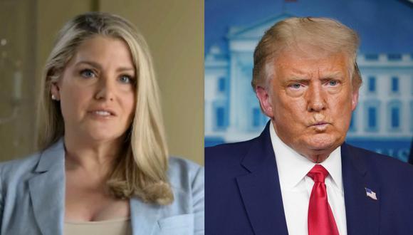 Según Amy Dorris (izquierda), Donald Trump (derecha), que era entonces un promotor inmobiliario y famoso neoyorquino, la agredió el 5 de septiembre de 1997 delante de los aseos de su palco en el US Open. (Captura de video/YouTube - AFP/MANDEL NGAN).