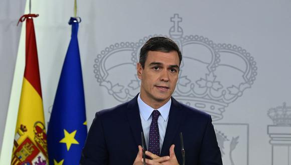 Pedro Sánchez, presidente del Gobierno de España en una comparecencia para hablar del coronavirus. (Foto: JAVIER SORIANO / AFP).