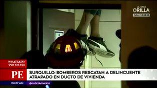 Surquillo: delincuente queda atrapado en ducto tras intentar escapar de la Policía