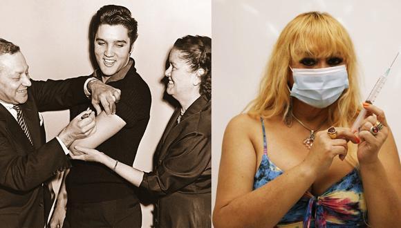 En 1956, Elvis Presley se vacunó contra la polio horas antes de aparecer en el programa de Ed Sullivan. Susy Díaz, por su parte, se ha convertido en promotora de la vacunación contra el COVID-19. (Fotos: NEH.GOV/Anthony Niño de Guzmán)