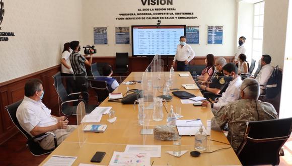 Los miembros del Comando de Operaciones COVID-19 de La Libertad se reunieron ayer para evaluar la situación de la pandemia en la región. (Foto: Gobierno Regional de La Libertad)