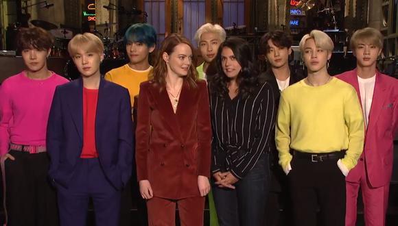 """BTS graba video promocional de su presentación con Emma Stone en """"Saturday Night Live"""" (Foto: Captura de pantalla)"""