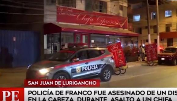 Delincuentes matan a policía y luego que roban el arma cuando asaltaban chifa. (Captura: América Noticias)
