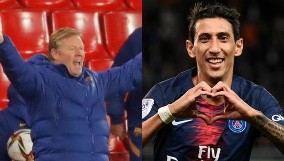 Koeman le responde a Di María sobre la posibilidad de jugar con Messi en el PSG.