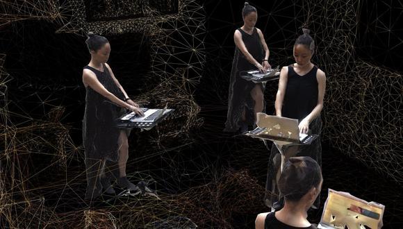 """Sasaki y los otros seis músicos participantes en """"K'uku"""" se escanearon a sí mismos con sus teléfonos, en 360°, desde el confinamiento."""
