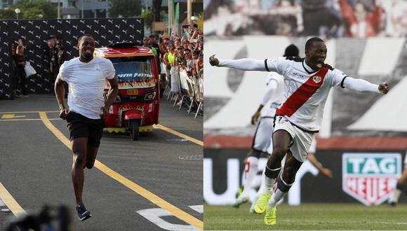 Bolt en una carrera contra un mototaxi; Advíncula celebrando una victoria del Rayo Vallecano. (Foto: El Comercio / EFE)