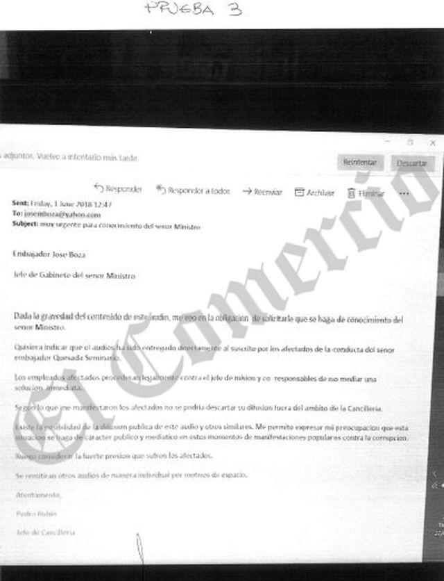 Pedro Rubín envió los audios a José Boza y se lo dijo en esta carta del 1 de junio, dos semanas antes de su difusión en la TV.