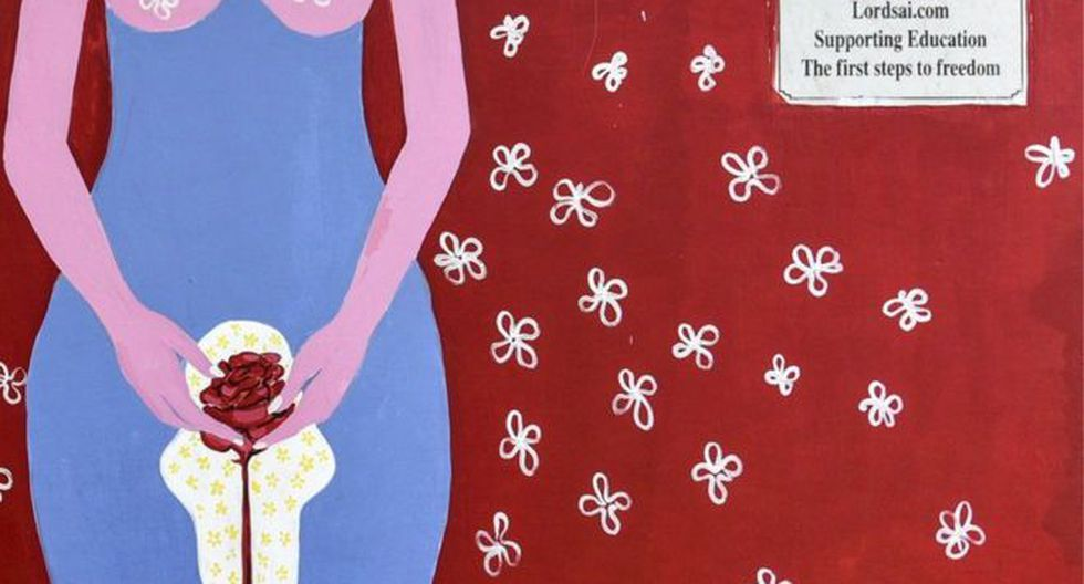 Este mural busca crear conciencia sobre la menstruación, con la intención de que deje de ser un tema tabú en India. Foto: GETTY IMAGES, vía BBC Mundo