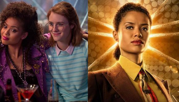 """A la izquierda, Gugu Mbatha-Raw y Mackenzie Davis en """"San Junipero"""", uno de los más aclamados episodios de """"Black Mirror"""". A la derecha, Mbatha Raw como Ravonna Renslayer en """"Loki"""", su más reciente papel. Fotos: Netflix/ Marvel Studios."""