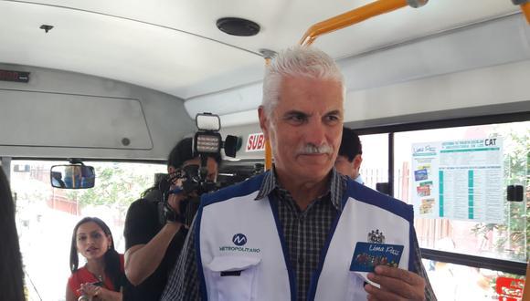 """Fernando Perera, presidente de ProTransporte, presentó la tarjeta """"Lima Pass"""". (Foto: Juan Guillermo Lara)"""