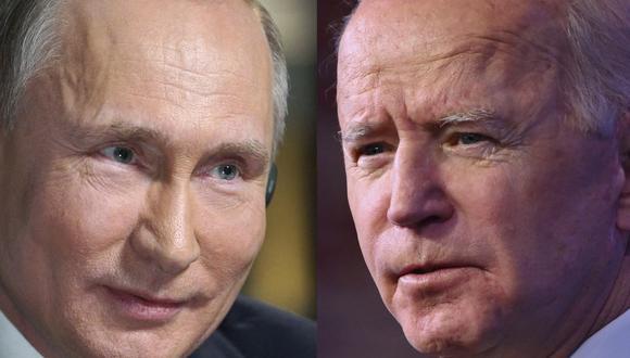 El presidente de Rusia, Vladimir Putin (izq.) y su homólogo de Estados Unidos, Joe Biden, se encontrarán el miércoles en una cumbre en Ginebra. (ANGELA WEISS, ALEXEY DRUZHININ / AFP).