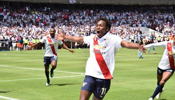LDU Quito ganó 1-0 a Emelec en el Estadio de Liga Deportiva Universitaria, por la final de vuelta de la Serie A de Ecuador. Anderson Julio fue el héroe de la jornada al marcar el gol del título. (Foto: Twitter)
