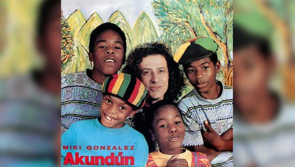Portada en vinilo del disco Akundún de Miki González, edición venezolana. Año 1993.