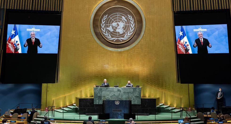 El presidente de Chile, Sebastián Piñera, pronuncia su discurso ante la Asamblea General de la ONU. (ESKINDER DEBEBE / UNITED NATIONS / AFP).