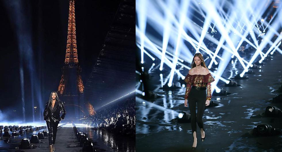 Anthony Vaccarello, director creativo de Saint Laurent, conquistó la ciudad de las luces con una puesta en escena impresionante bajo la Torre Eiffel. (Foto: AFP)