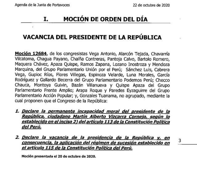 La Junta de Portavoces evaluará si incluye en la agenda del pleno la vacancia contra Martín Vizcarra.