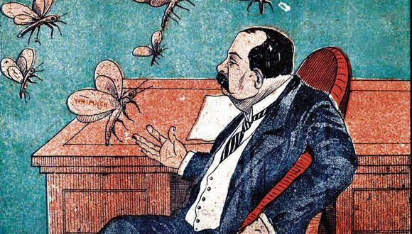 """El presidente Billinghurst  alertado por zancudos del acecho de sus enemigos en el Congreso, en 1913. (Foto: """"El Zancudo"""", n.° 19 (21 de junio de 1913) / BNP)"""